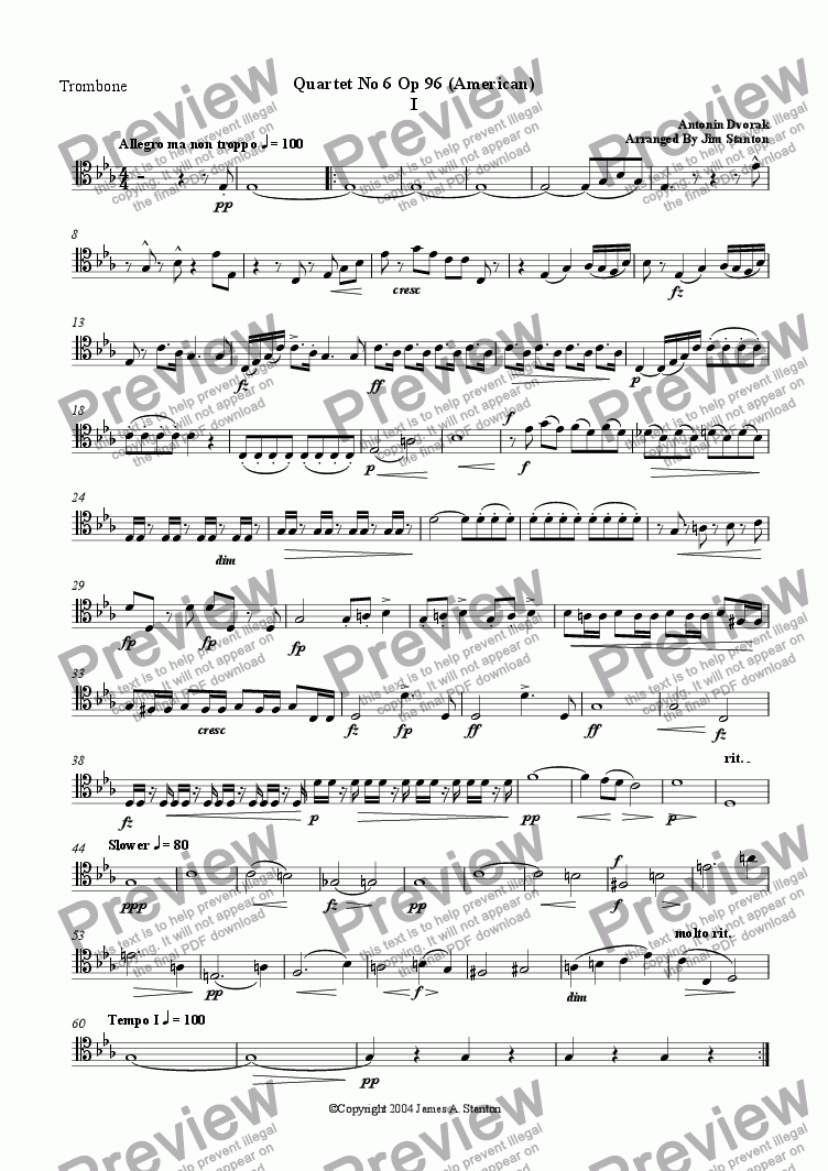 page one of the Trombone part from Dvorak Quartet No 6 (American) Mvt 1 for Brass Quintet