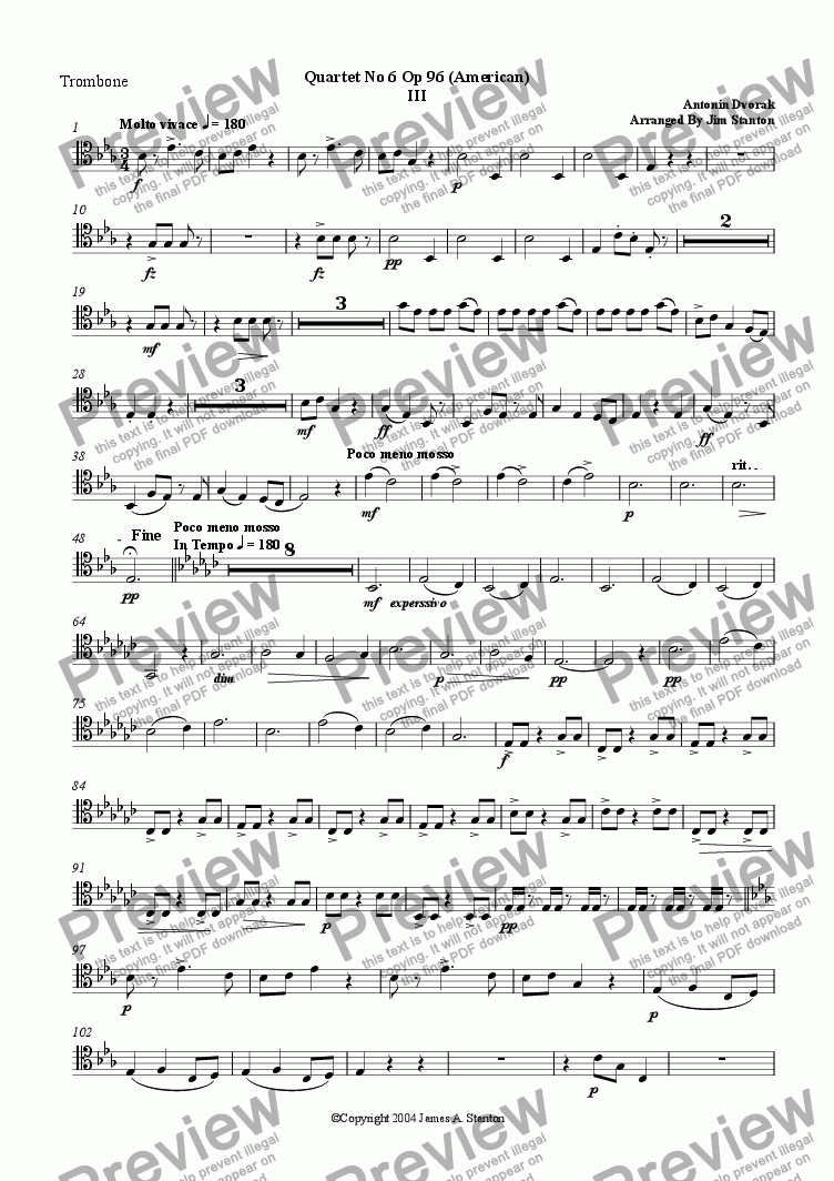 page one of the Trombone part from Dvorak Quartet No 6 (American) Mvt 3 for Brass Quintet