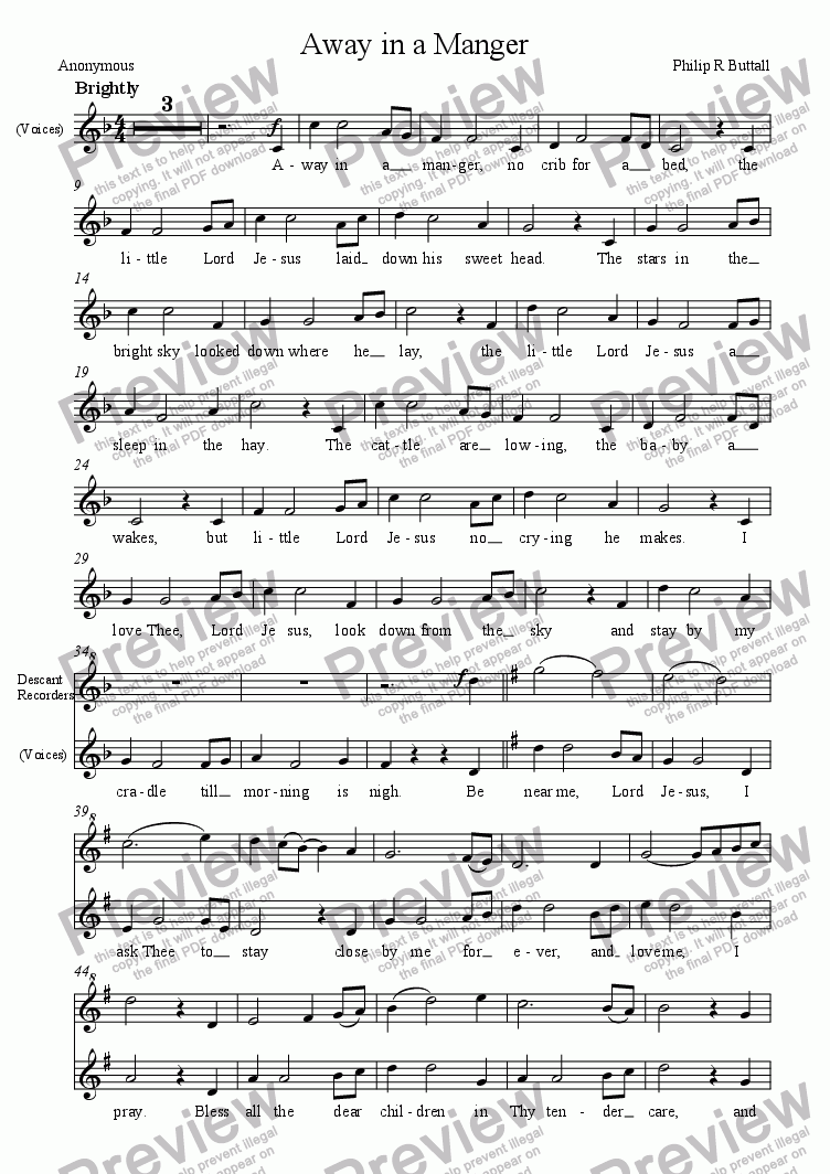 page one of the Voices + Recorders part from Away in a Manger