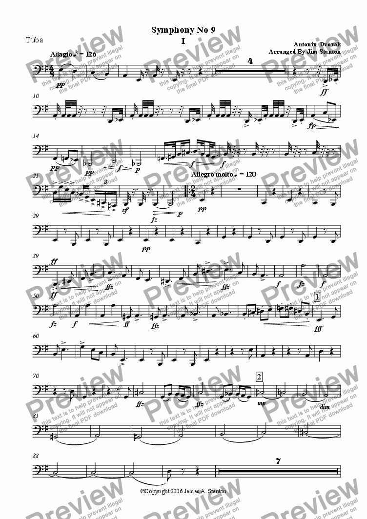 page one of the Tuba part from Dvorak Symphony No 9 Mvt 1 for Brass Quintet