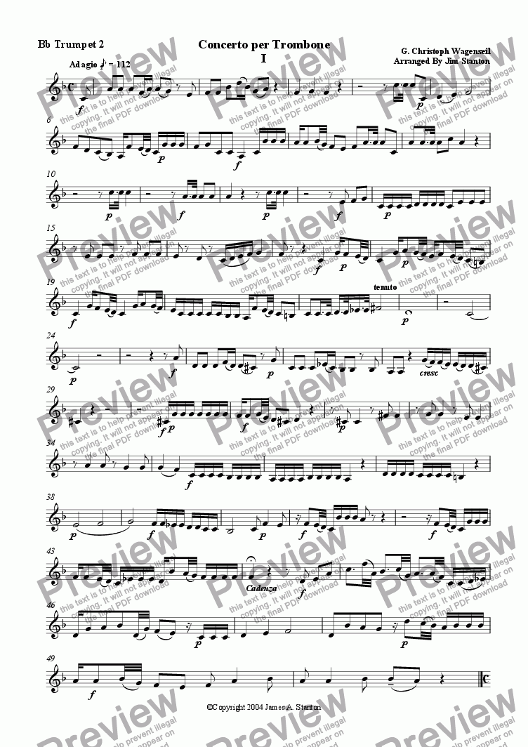page one of the Bb Trumpet 2 part from Wagenseil  - Concerto for Trombone - Brass Quintet