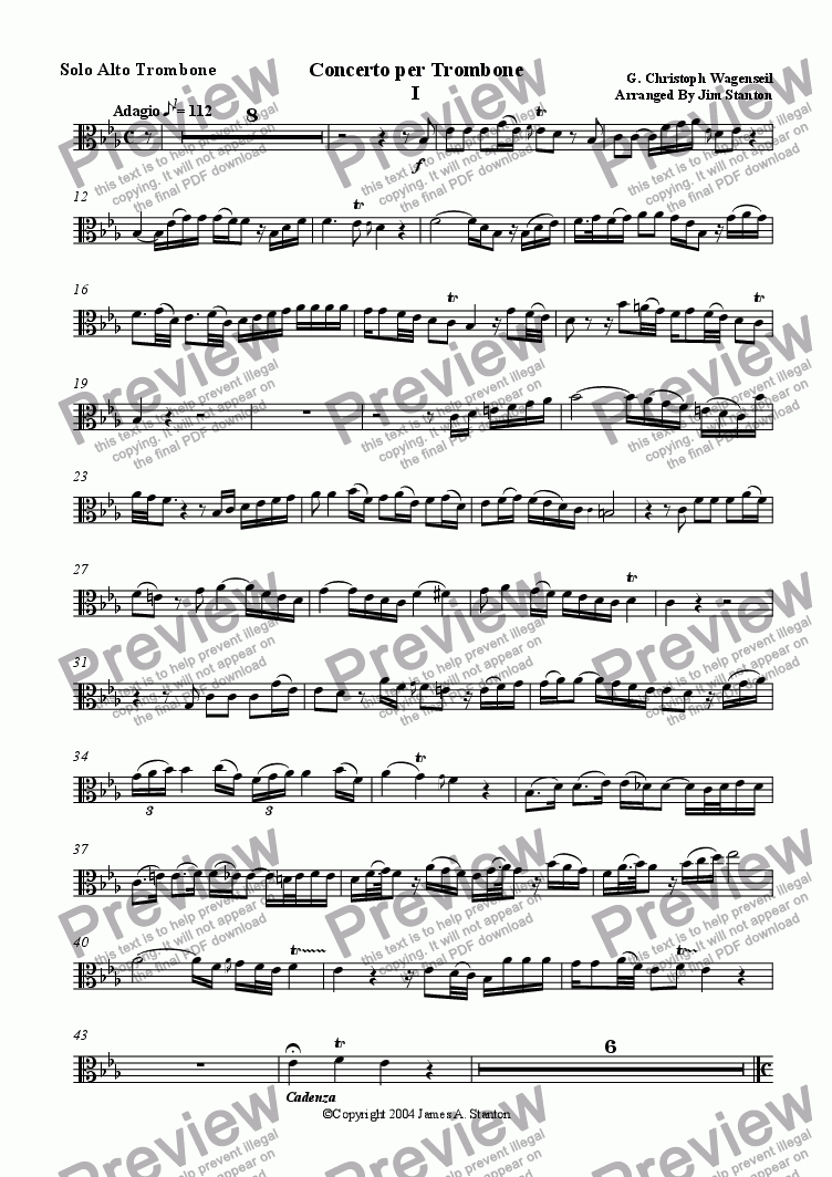page one of the Trombone (Alto Clef) part from Wagenseil  - Concerto for Trombone - Brass Quintet