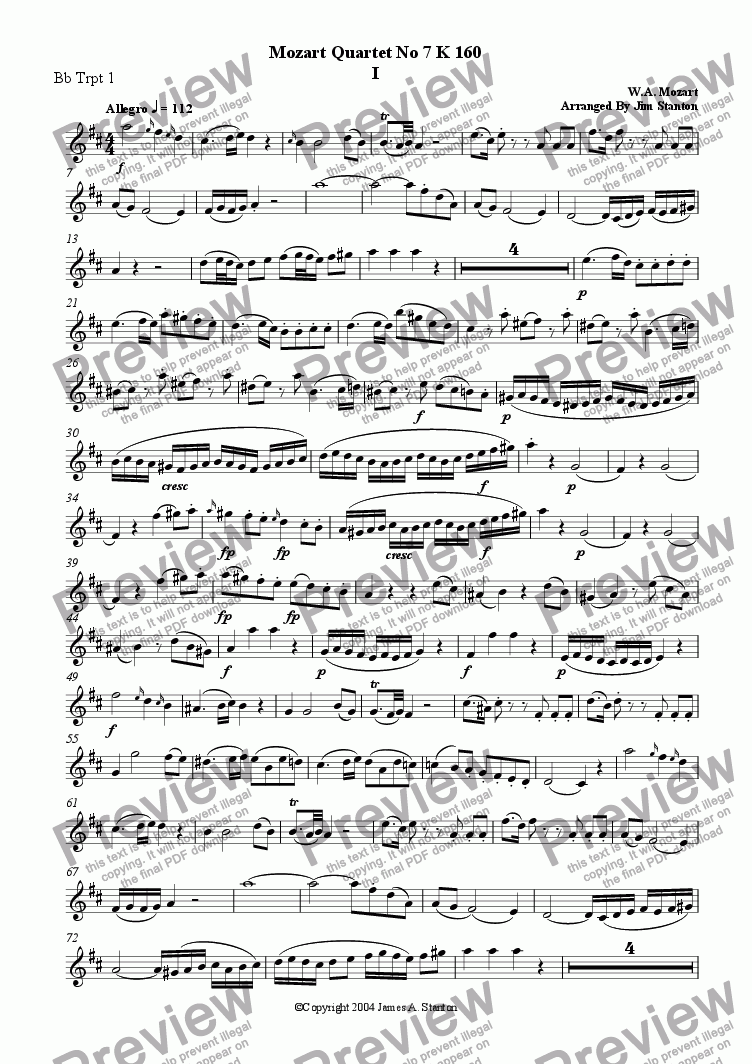 page one of the Bb Trumpet 1 part from Mozart Quartet No 07 K 160 for Brass Quintet