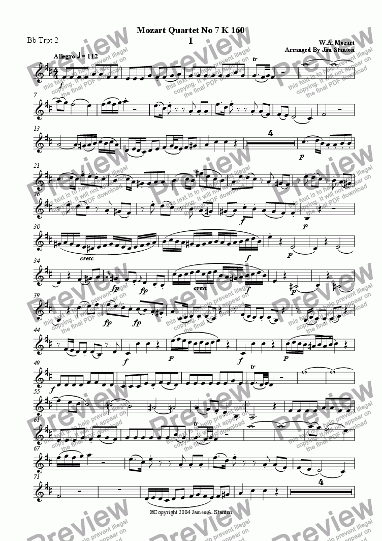 page one of the Bb Trumpet 2 part from Mozart Quartet No 07 K 160 for Brass Quintet