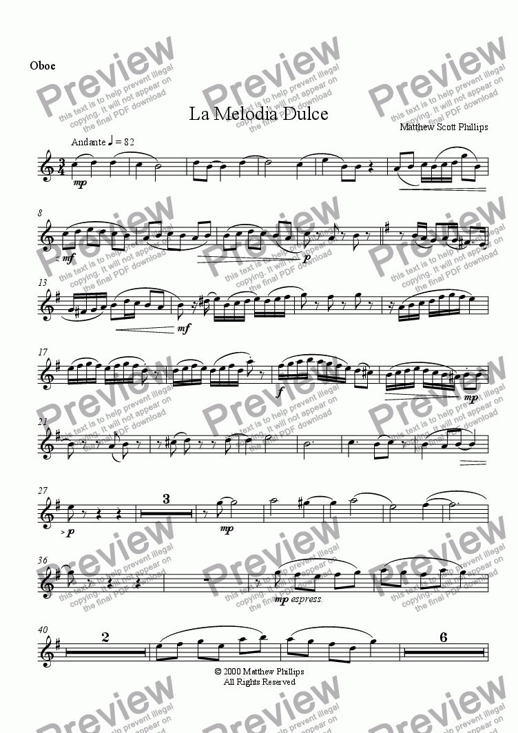 page one of the Oboe part from La Melodia Dulce