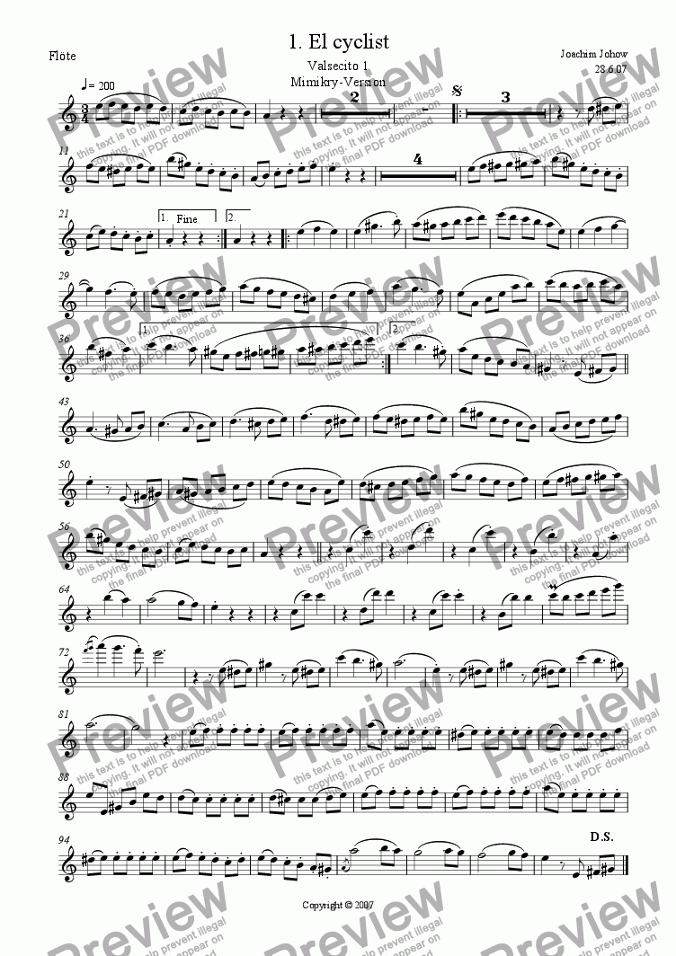 page one of the Fl part from Danza 01 (El cyclist- Valsecito 1)