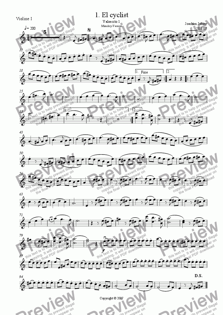 page one of the 1. Vl part from Danza 01 (El cyclist- Valsecito 1)