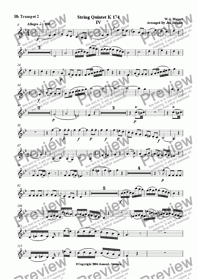 page one of the Bb Trumpet  2 part from Mozart Quintet K 174 Mvt 4 for Brass Quintet