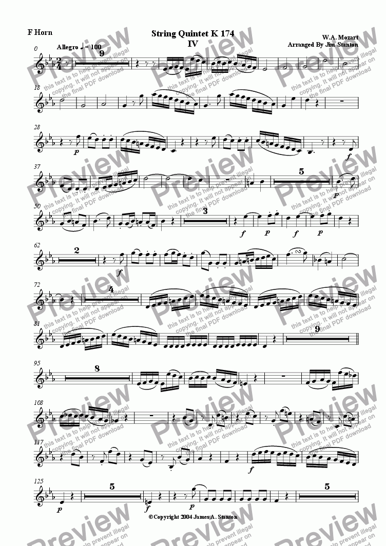 page one of the F Horn part from Mozart Quintet K 174 Mvt 4 for Brass Quintet
