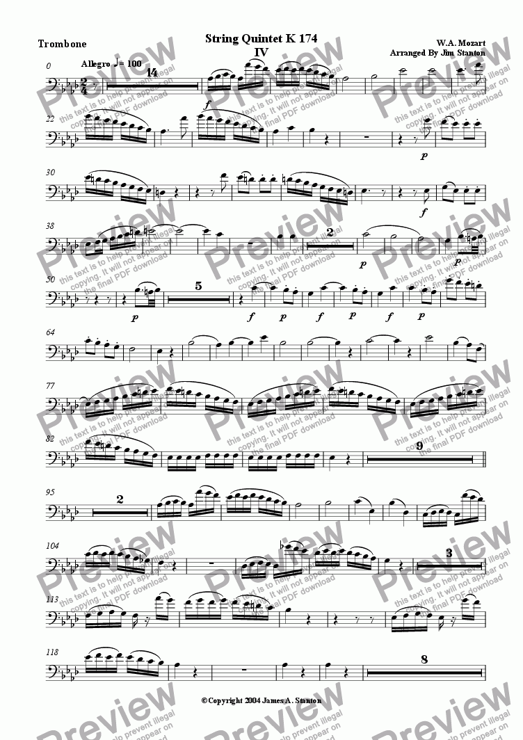 page one of the Trombone (Bass Clef) part from Mozart Quintet K 174 Mvt 4 for Brass Quintet