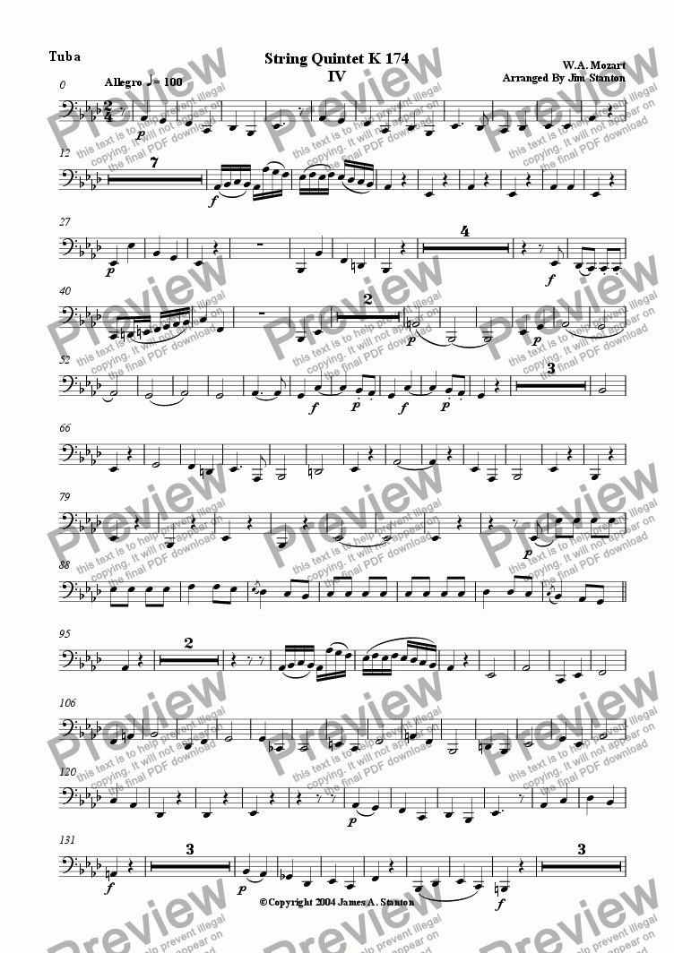 page one of the Tuba part from Mozart Quintet K 174 Mvt 4 for Brass Quintet