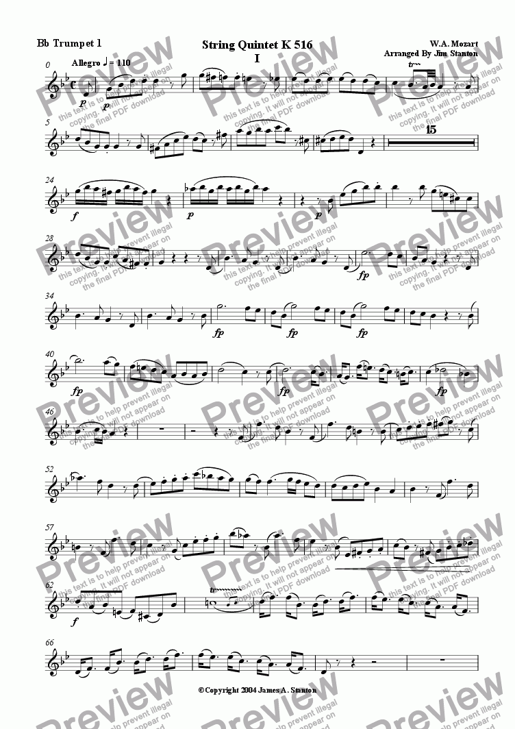 page one of the Bb Trumpet 1 part from Mozart Quintet K 516 Mvt 1 for Brass Quintet