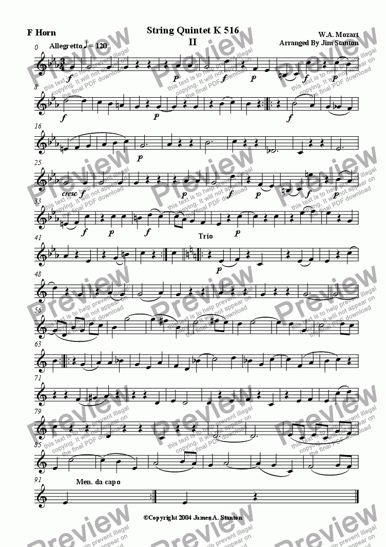 page one of the F Horn part from Mozart Quintet K 516 Mvt 2 for Brass Quintet
