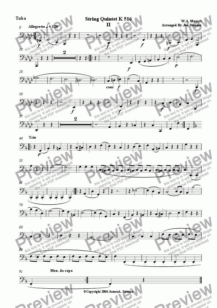page one of the Tuba part from Mozart Quintet K 516 Mvt 2 for Brass Quintet