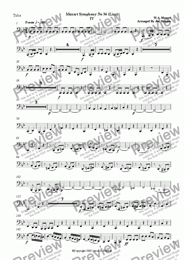page one of the Tuba part from Mozart Symphony No 36 Mvt 4 for Brass Quintet