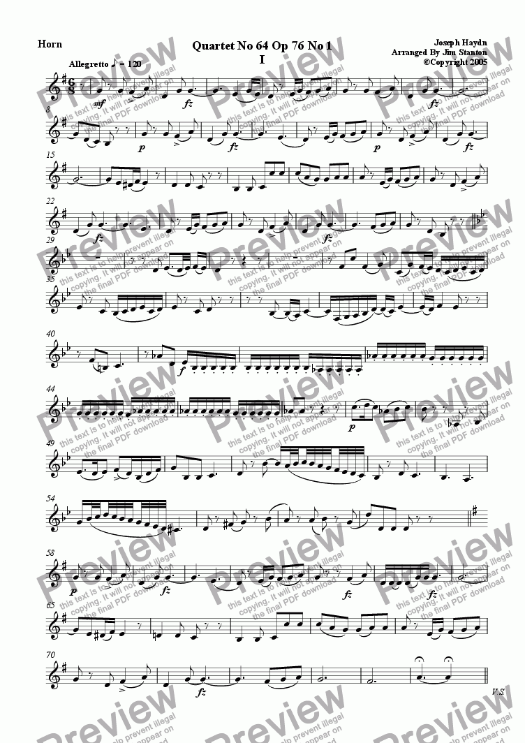 page one of the F Horn part from Haydn Quartet No 64 for Brass Quintet