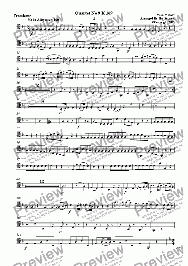 page one of the Trombone (Tenor Clef) part from Mozart Quartet No 09 K 169 for Brass Quintet