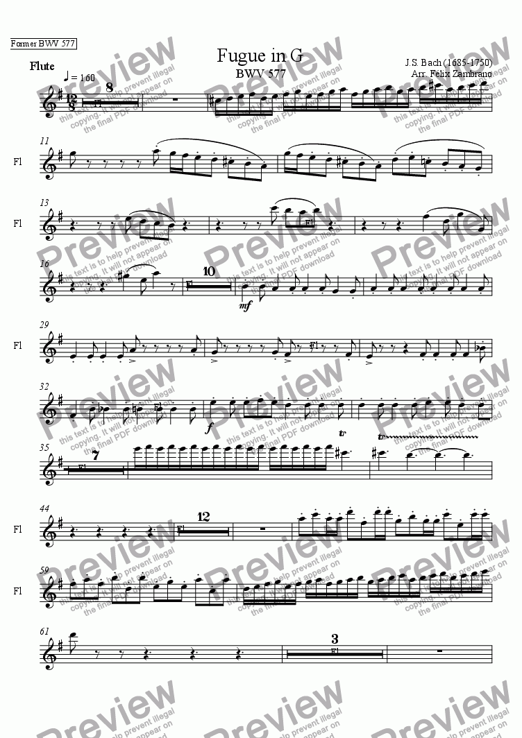 page one of the Flute part from Fugue in G (BWV577)