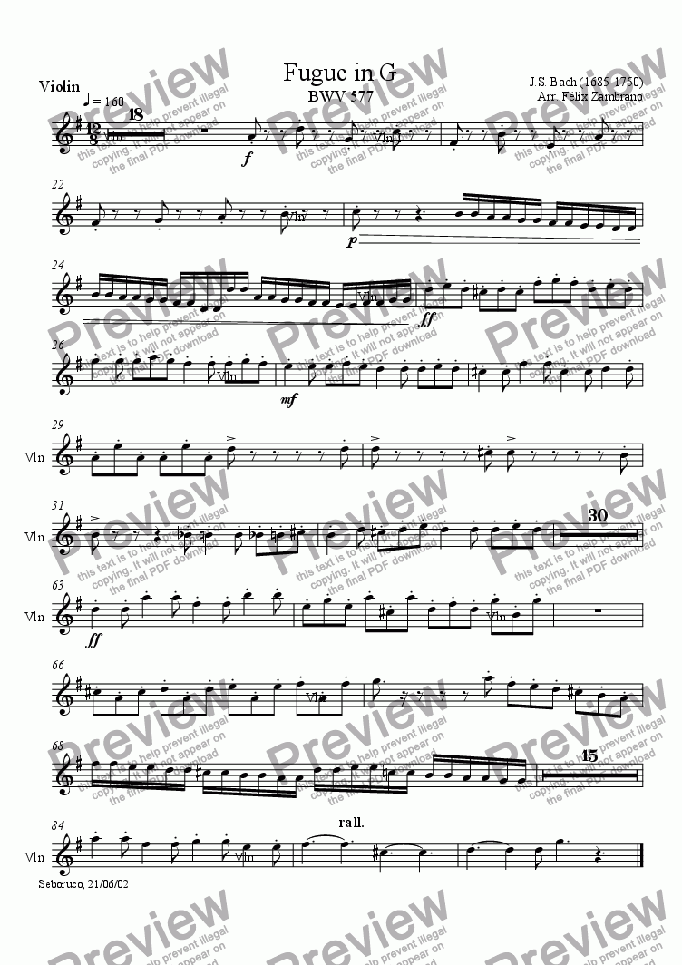 page one of the Violin part from Fugue in G (BWV577)