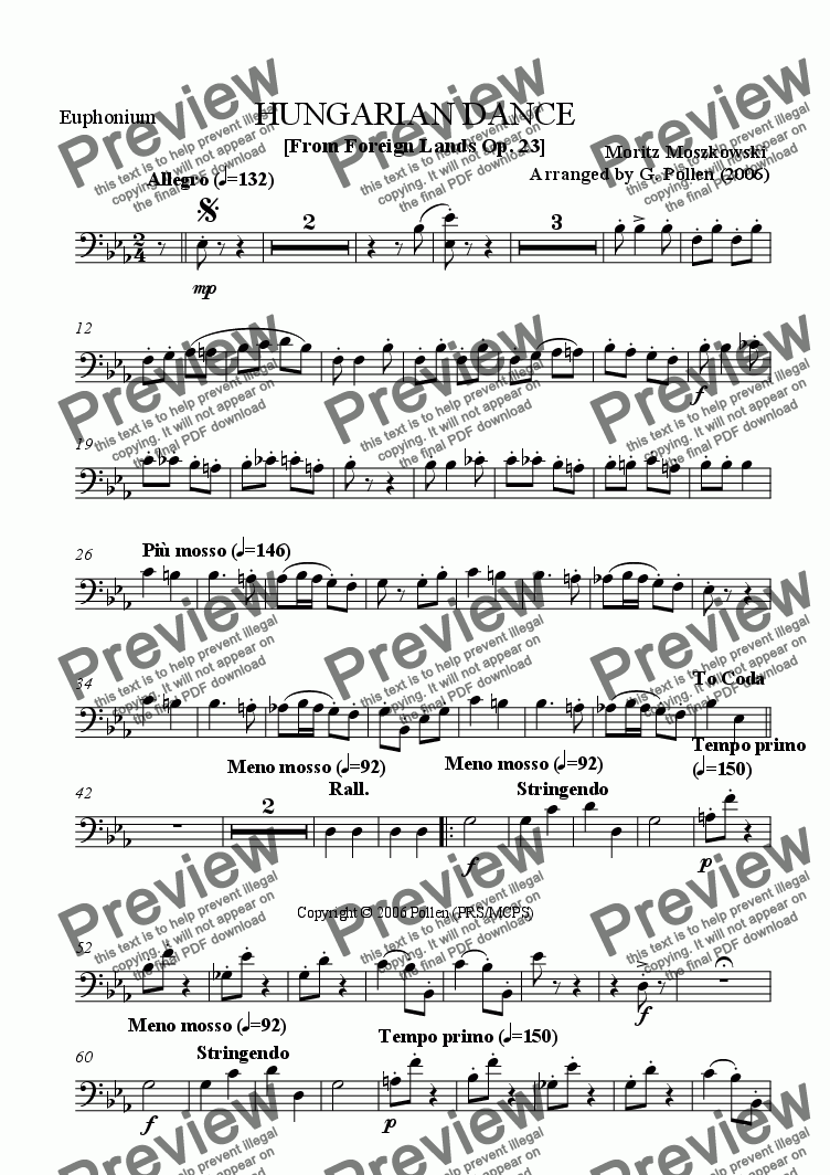 page one of the Euphonium part from Hungarian Dance [From Foreign Lands] Op. 23 (CB)