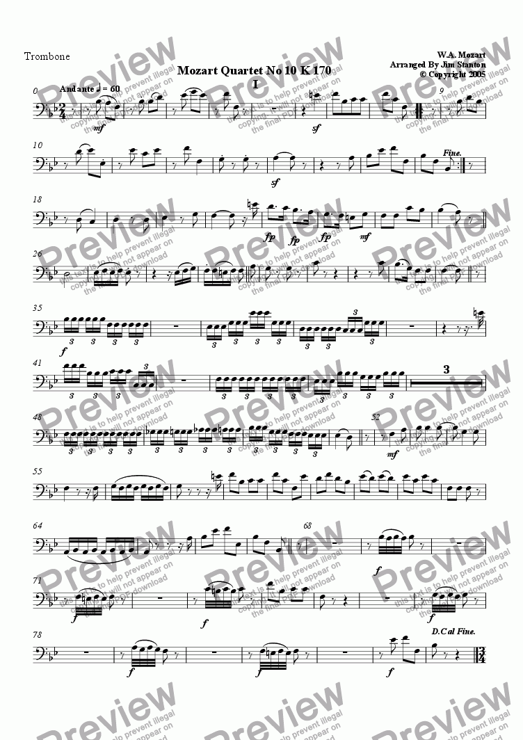 page one of the Trombone (Bass Clef) part from Mozart - Quartet No 10 K 170 for Brass Quintet
