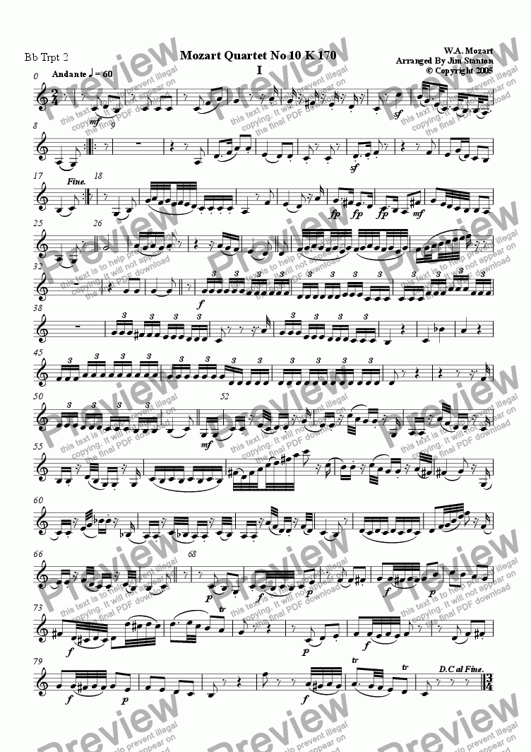 page one of the Bb Trumpet 2 part from Mozart - Quartet No 10 K 170 for Brass Quintet