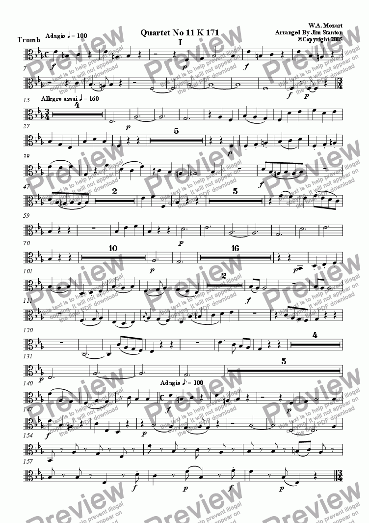 page one of the Trombone (Tenor Clef) part from Mozart - Quartet No 11 K 171 for Brass Quintet