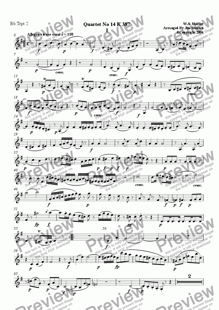 page one of the Bb Trumpet  2 part from Mozart Quartet No 14 K 387 for Brass Quintet