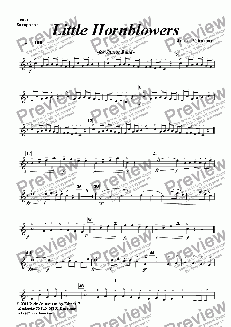 page one of the Tenor Sax. part from Little Hornblowers (youth band)