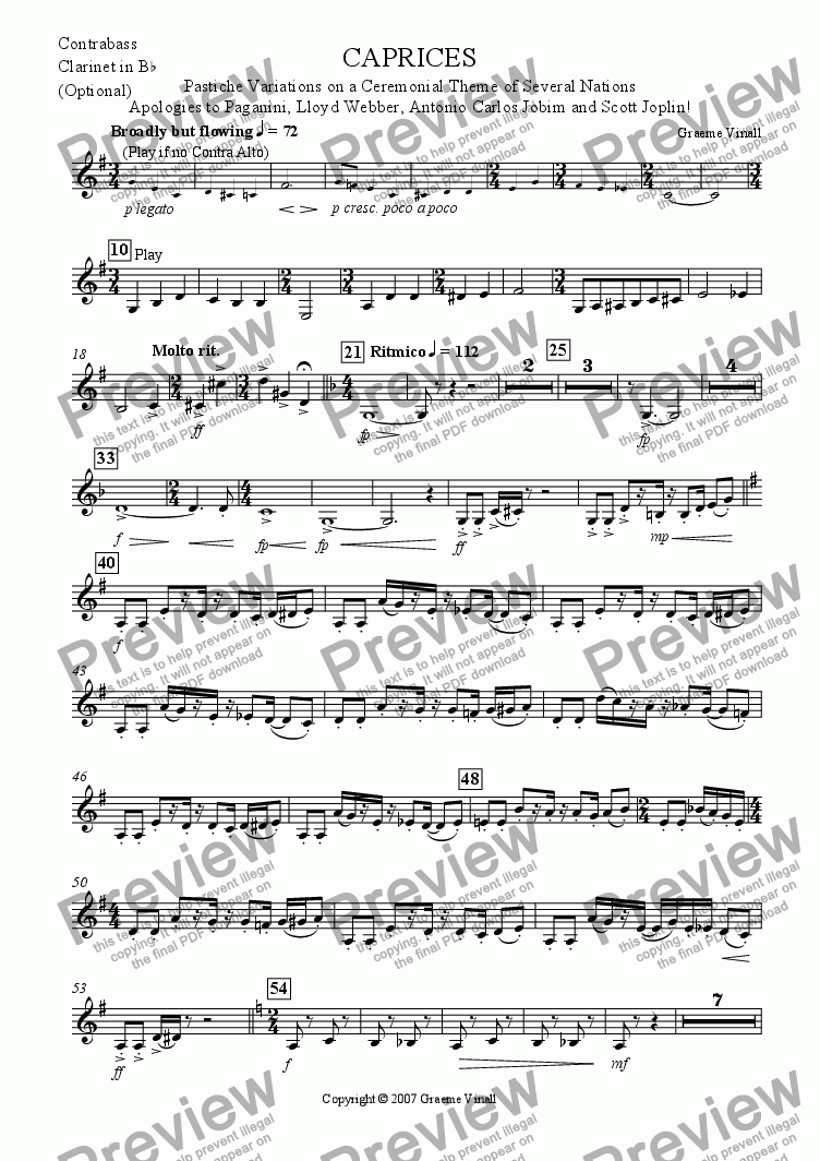 page one of the Bb Contrabass Clarinet part from Caprices for Clarinet Choir