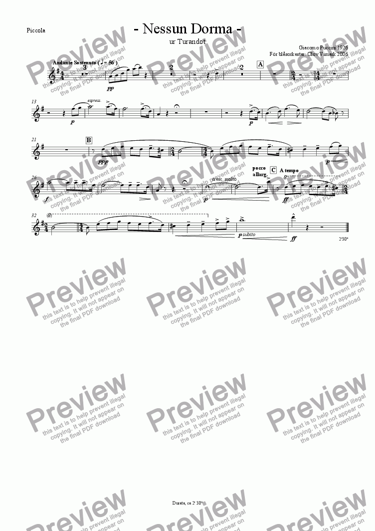 page one of the Piccolo part from Nessun Dorma - Solo and Wind Orchestra