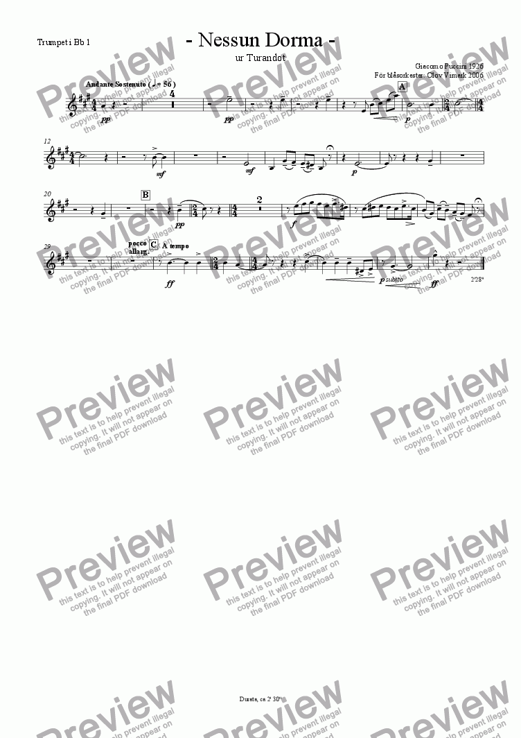 page one of the Trumpet 1 in Bb part from Nessun Dorma - Solo and Wind Orchestra
