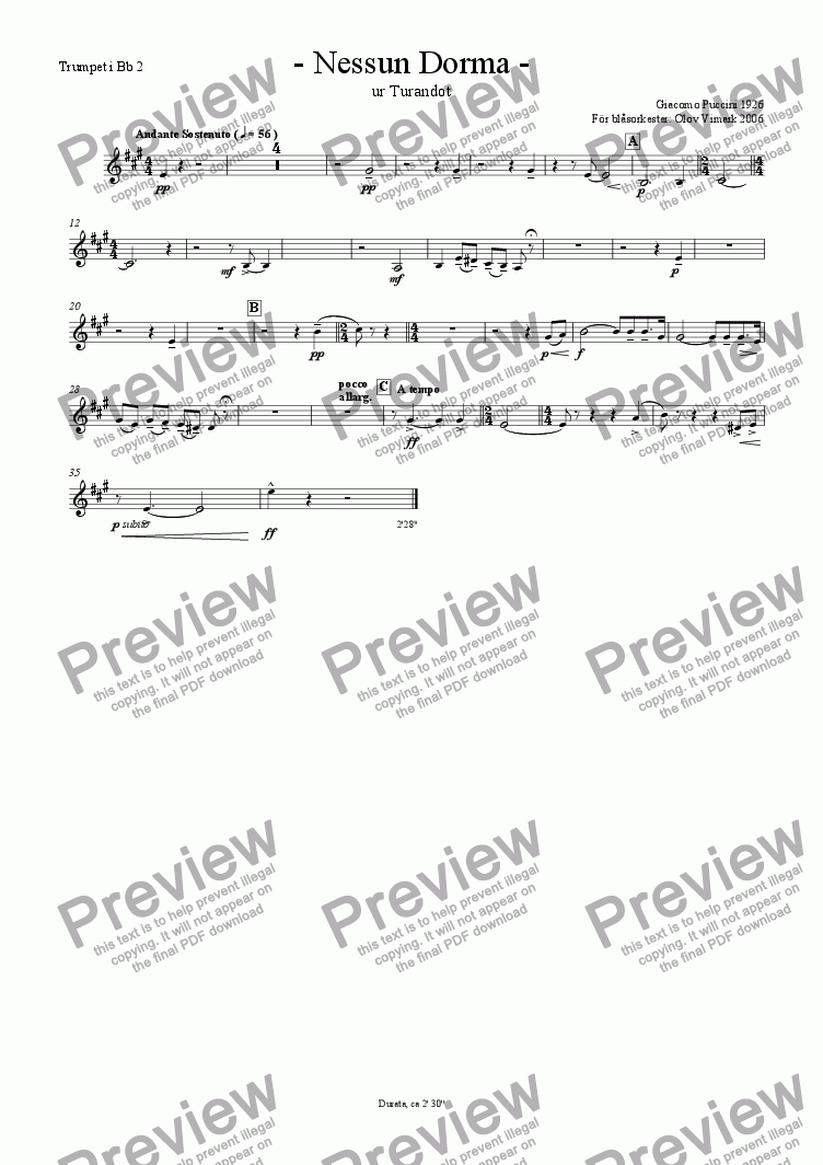 page one of the Trumpet 2 in Bb part from Nessun Dorma - Solo and Wind Orchestra