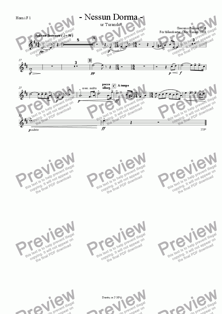 page one of the French horn 1 in F part from Nessun Dorma - Solo and Wind Orchestra