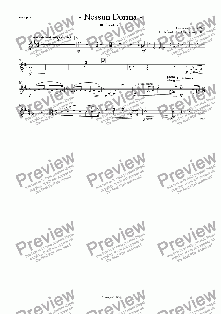 page one of the French horn 2 in F part from Nessun Dorma - Solo and Wind Orchestra