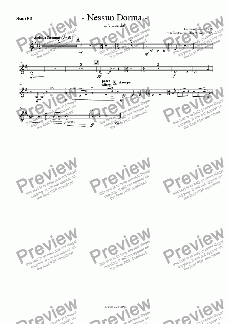 page one of the French horn 3 in F part from Nessun Dorma - Solo and Wind Orchestra