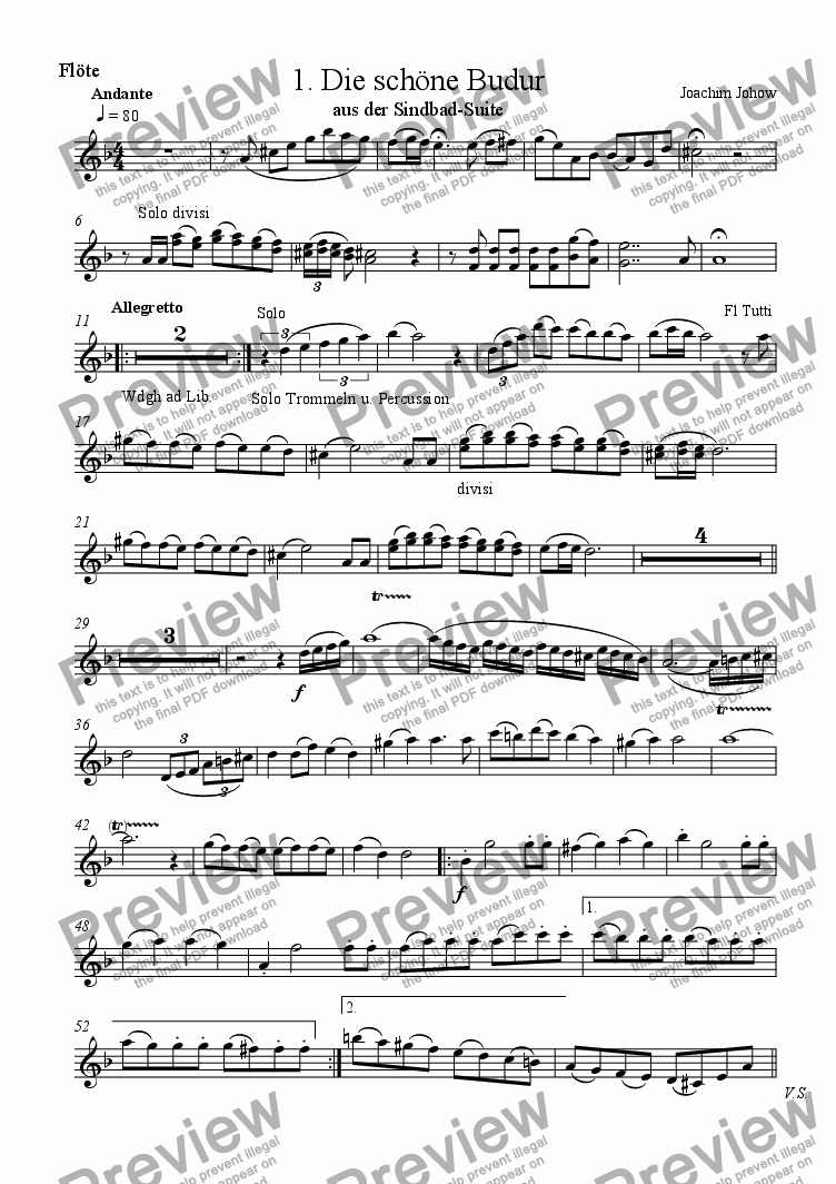 page one of the Fl part from Sindbad-Suite 01 (Budur - Orchestra)