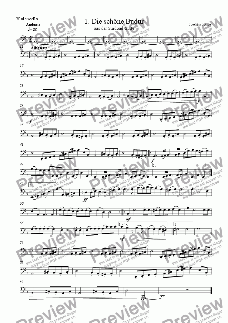 page one of the Vlc part from Sindbad-Suite 01 (Budur - Orchestra)