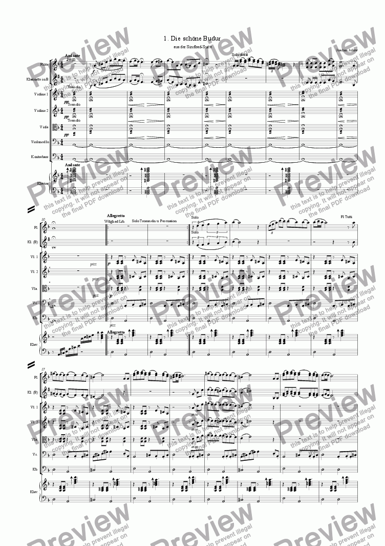 page one of the Budur score small part from Sindbad-Suite 01 (Budur - Orchestra)