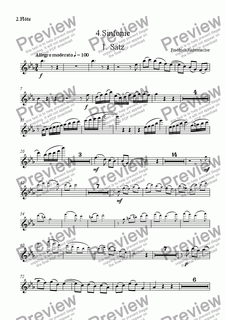 page one of the Fl�te 2 part from 4. Sinfonie