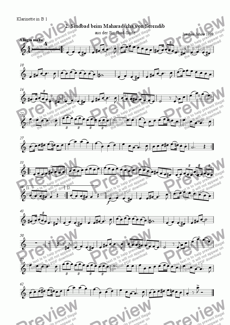 page one of the 1. Cl B part from Sindbad-Suite 02 (Sindbad - Orchestra)