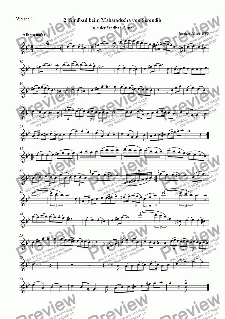 page one of the 1. Vl part from Sindbad-Suite 02 (Sindbad - Orchestra)