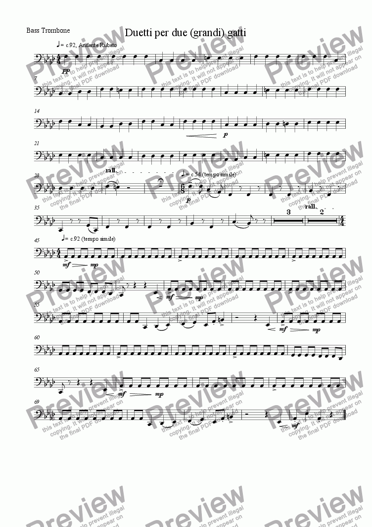 page one of the Bass Trombone part from Duet for two (large) cats