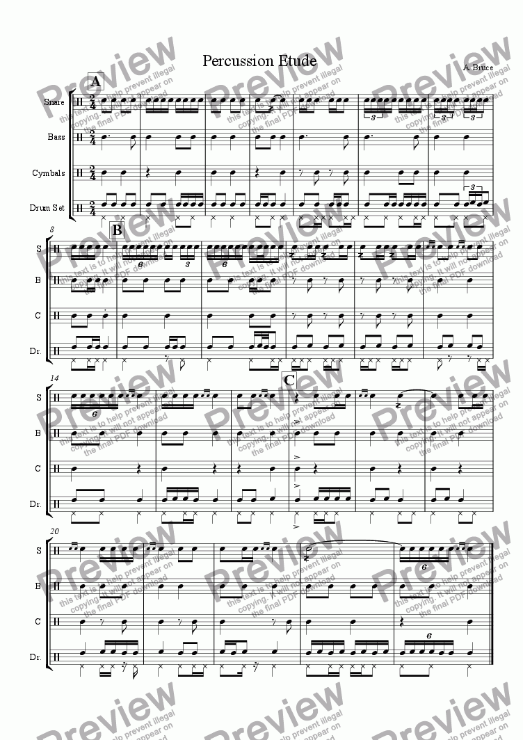 page one of the Drum Set part from Percussion Etude