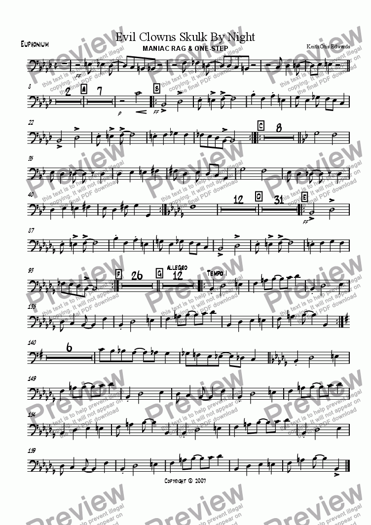 page one of the Euphonium part from Evil Clowns Skulk By Night: maniac rag & one-step