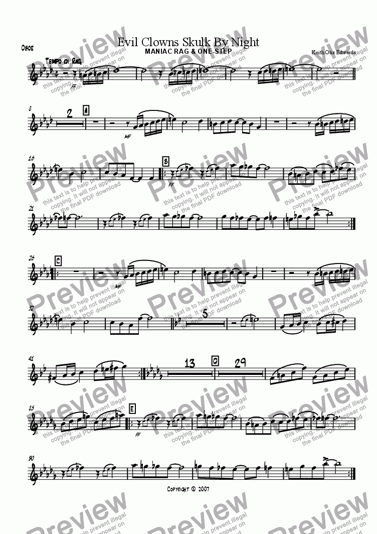 page one of the Oboe part from Evil Clowns Skulk By Night: maniac rag & one-step