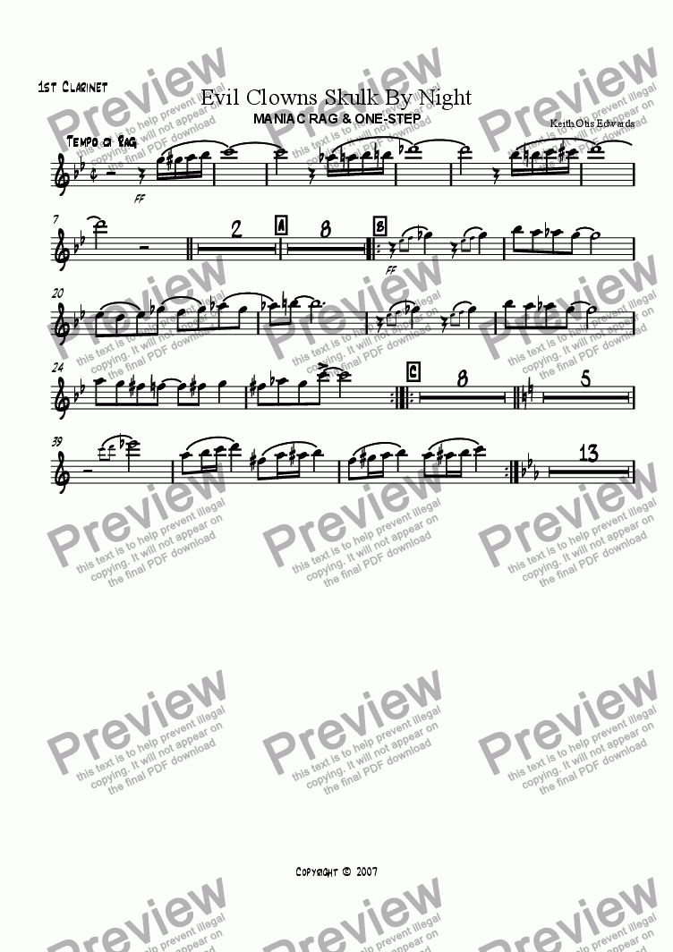 page one of the 1st Clarinet part from Evil Clowns Skulk By Night: maniac rag & one-step