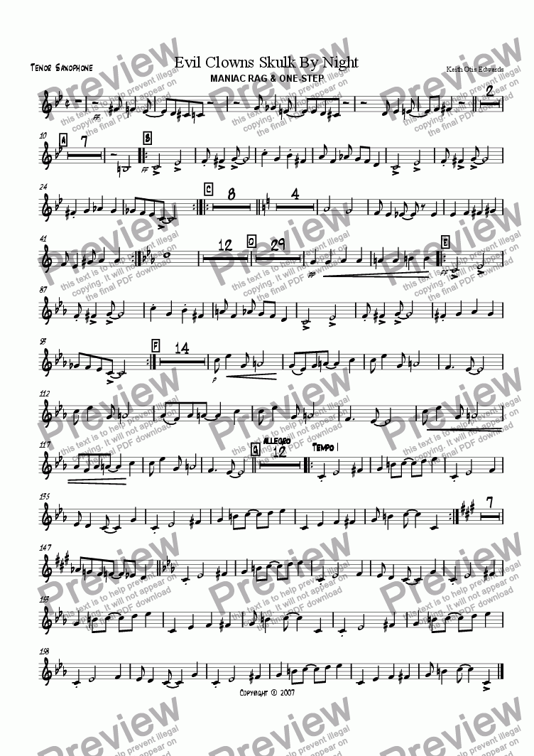page one of the Tenor Saxophone part from Evil Clowns Skulk By Night: maniac rag & one-step