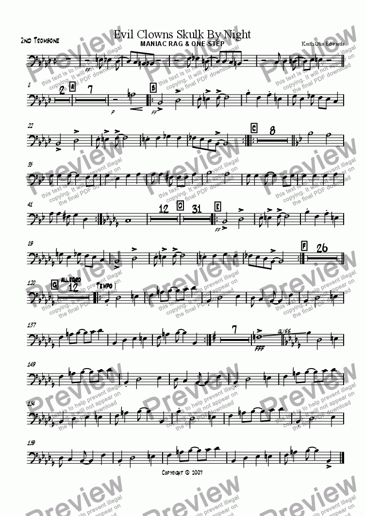 page one of the 2nd Trombone part from Evil Clowns Skulk By Night: maniac rag & one-step