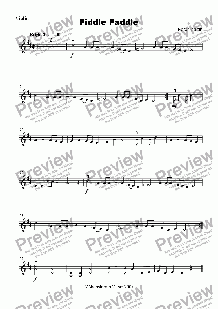 page one of the Violin part from Fiddle Faddle